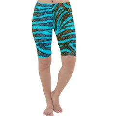 Turquoise Blue Zebra Abstract  Cropped Leggings
