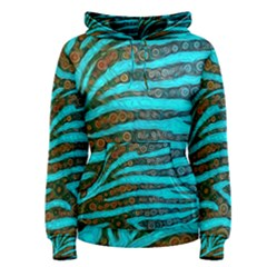 Turquoise Blue Zebra Abstract  Women s Pullover Hoodies
