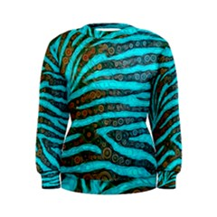 Turquoise Blue Zebra Abstract  Women s Sweatshirts