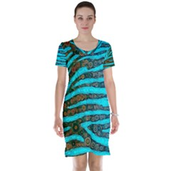 Turquoise Blue Zebra Abstract  Short Sleeve Nightdresses