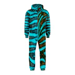 Turquoise Blue Zebra Abstract  Hooded Jumpsuit (Kids)