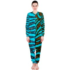 Turquoise Blue Zebra Abstract  OnePiece Jumpsuit (Ladies)