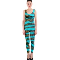 Turquoise Blue Zebra Abstract  OnePiece Catsuits