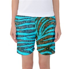 Turquoise Blue Zebra Abstract  Women s Basketball Shorts