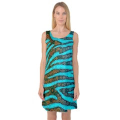 Turquoise Blue Zebra Abstract  Sleeveless Satin Nightdresses