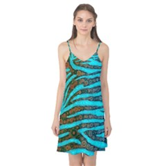 Turquoise Blue Zebra Abstract  Camis Nightgown