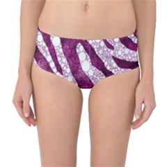 Purple Zebra Print Bling Pattern  Mid-Waist Bikini Bottoms