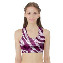 Purple Zebra Print Bling Pattern  Women s Sports Bra With Border