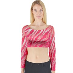 Florescent Pink Zebra Pattern  Long Sleeve Crop Top