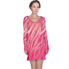 Florescent Pink Zebra Pattern  Long Sleeve Nightdresses