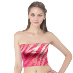 Florescent Pink Zebra Pattern  Women s Tube Tops