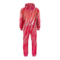 Florescent Pink Zebra Pattern  Hooded Jumpsuit (Kids)