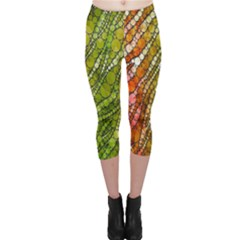 Orange Green Zebra Bling Pattern  Capri Leggings
