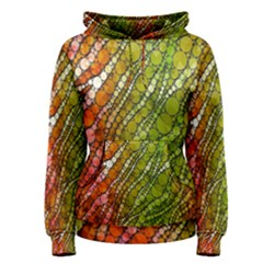 Orange Green Zebra Bling Pattern  Women s Pullover Hoodies