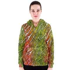 Orange Green Zebra Bling Pattern  Women s Zipper Hoodies