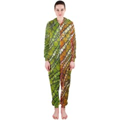 Orange Green Zebra Bling Pattern  Hooded Jumpsuit (Ladies)