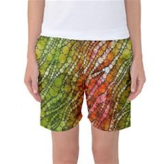 Orange Green Zebra Bling Pattern  Women s Basketball Shorts
