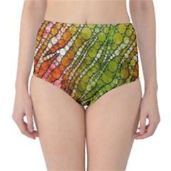 Orange Green Zebra Bling Pattern  High Waist Bikini Bottoms