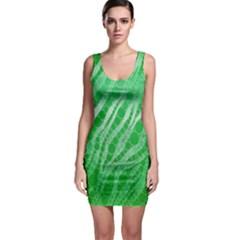 Florescent Green Zebra Abstract  Bodycon Dresses