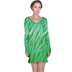 Florescent Green Zebra Abstract  Long Sleeve Nightdresses