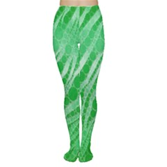 Florescent Green Zebra Abstract  Women s Tights