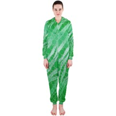 Florescent Green Zebra Abstract  Hooded Jumpsuit (Ladies)