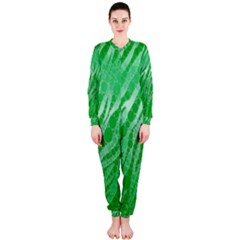 Florescent Green Zebra Abstract  OnePiece Jumpsuit (Ladies)