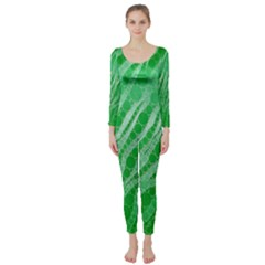 Florescent Green Zebra Abstract  Long Sleeve Catsuit