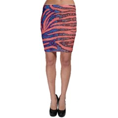 Florescent Orange Blue Zebra Abstract  Bodycon Skirts