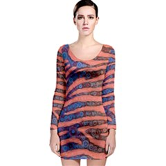 Florescent Orange Blue Zebra Abstract  Long Sleeve Bodycon Dresses