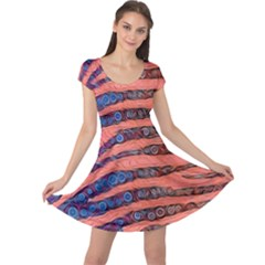 Florescent Orange Blue Zebra Abstract  Cap Sleeve Dresses