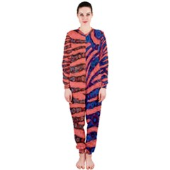 Florescent Orange Blue Zebra Abstract  OnePiece Jumpsuit (Ladies)