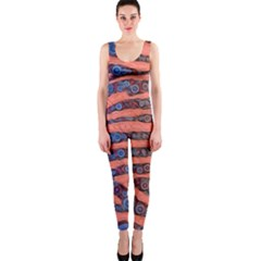 Florescent Orange Blue Zebra Abstract  OnePiece Catsuits