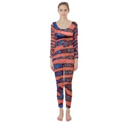 Florescent Orange Blue Zebra Abstract  Long Sleeve Catsuit