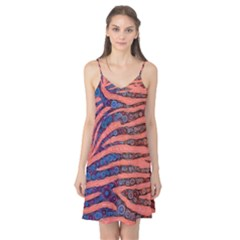 Florescent Orange Blue Zebra Abstract  Camis Nightgown