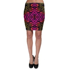 Florescent Pink Green Zebra Abstract  Bodycon Skirts