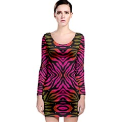 Florescent Pink Green Zebra Abstract  Long Sleeve Bodycon Dresses