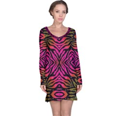 Florescent Pink Green Zebra Abstract  Long Sleeve Nightdresses