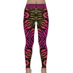 Florescent Pink Green Zebra Abstract  Yoga Leggings