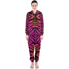 Florescent Pink Green Zebra Abstract  Hooded Jumpsuit (Ladies)