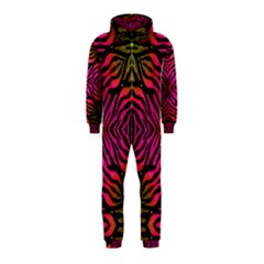 Florescent Pink Green Zebra Abstract  Hooded Jumpsuit (Kids)