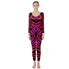 Florescent Pink Green Zebra Abstract  Long Sleeve Catsuit
