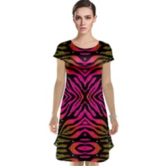 Florescent Pink Green Zebra Abstract  Cap Sleeve Nightdresses