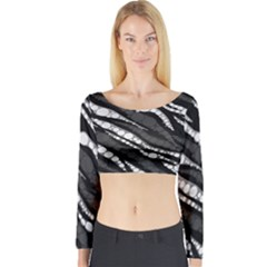 Black&White Zebra Abstract  Long Sleeve Crop Top
