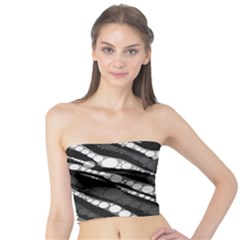 Black&white Zebra Abstract  Women s Tube Tops