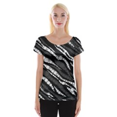 Black&White Zebra Abstract  Women s Cap Sleeve Top