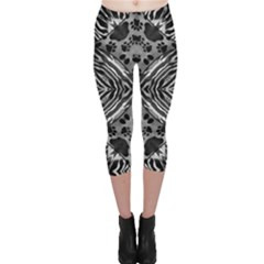Black&white Animal Print Cat Capri Leggings