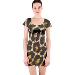 Crazy Beautiful Abstract Cheetah Abstract  Short Sleeve Bodycon Dresses