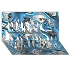 Metal Art 11, Blue Happy Birthday 3D Greeting Card (8x4)