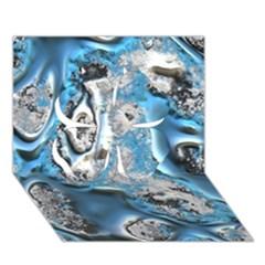 Metal Art 11, Blue Clover 3D Greeting Card (7x5)